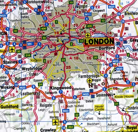 Great Britain, Road and Physical Travel Reference Map.