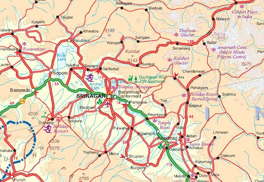 Himalaya Regions, Road and Travel Reference Physical Map.