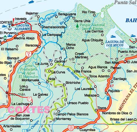 Honduras Road and Travel Reference Physical Map.