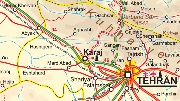 Iran Road and Physical Travel Reference Map.