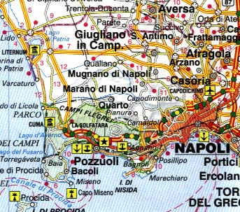 Italy South Road and Physical Travel Reference Map.