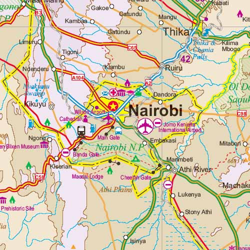 Kenya Road and Physical Travel Reference Map.