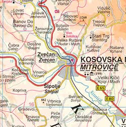 Kosovo Road and Topographic Travel Reference Physical Map.