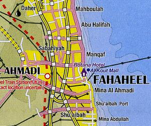 Kuwait and Kuwait City Road and Tourist Map.