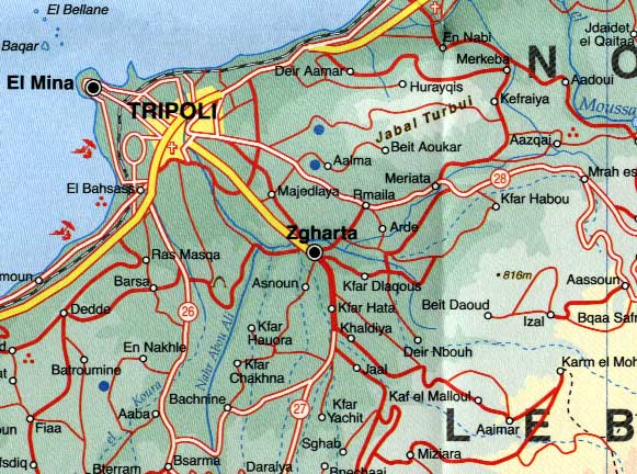Lebanon Road and Physical Travel Reference Map.