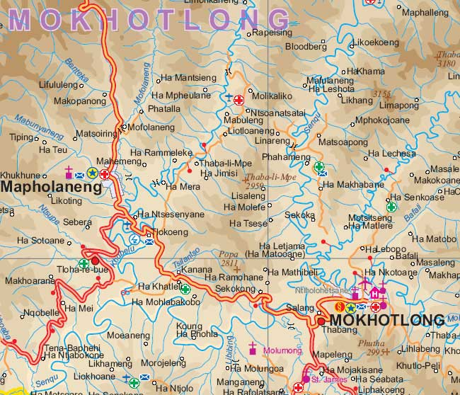 Lesotho Road and Physical Travel Reference Map.