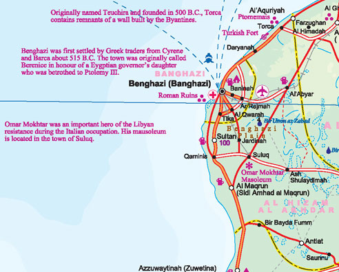 Libya Road and Physical Travel Reference Map.
