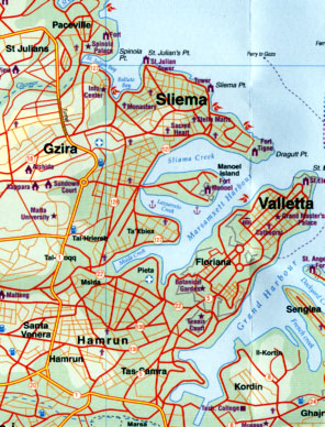 Malta and Gozo, Road and Physical Travel Reference Map, Mediterranean.