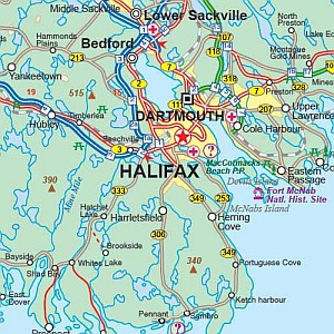 Canada's Maritime Provinces Road and Tourist Map.