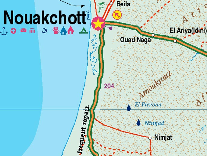 Mauritania Road and Physical Travel Reference Map.