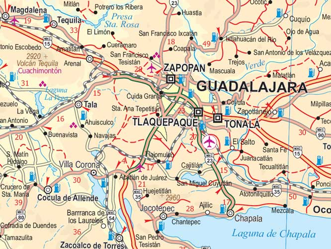 Mexico Pacific Coast and Guadalajara Road and Physical Travel Reference Map, Mexico.