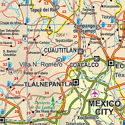 Mexico, South, Road and Physical Travel Reference Map.