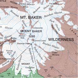 Mount Baker Regional Road and Topographic Recreation Map, Washington, America.