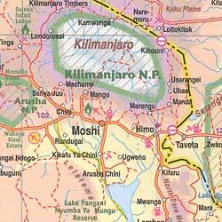 Mt. Kilimanjaro Trekking Map, Tanzania.