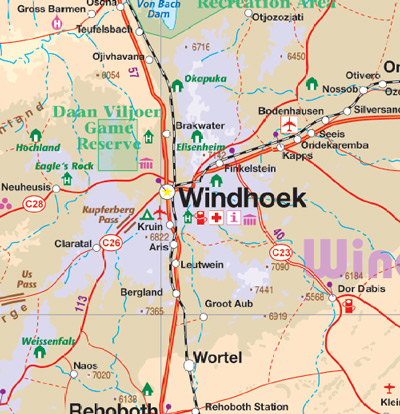 Namibia Road and Physical Travel Reference Map.
