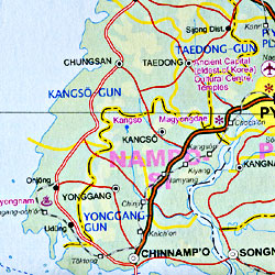 North Korea Road and Physical Travel Reference Map.