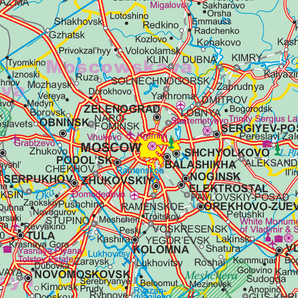 Russia Road and Physical Travel Reference Map.