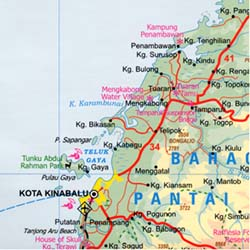 Sabah State and Brunei Road and Physical Travel Reference Map, Malaysia.