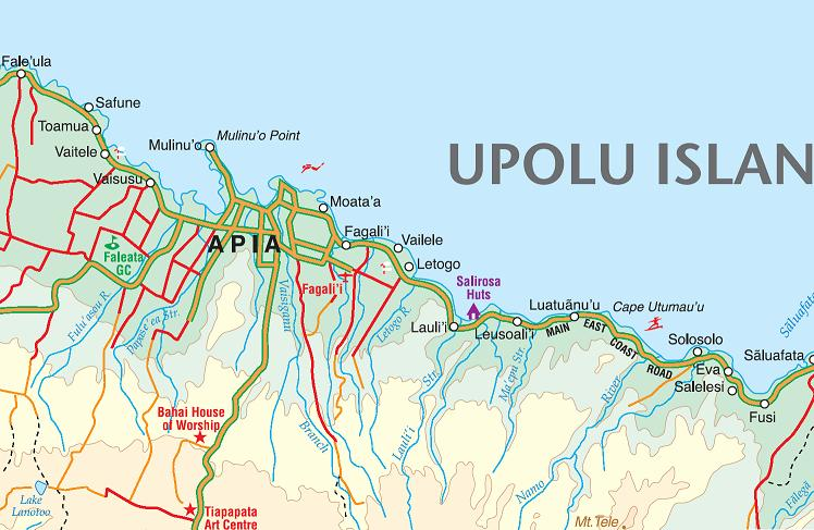 Samoa Road and Physical Travel Reference Map.