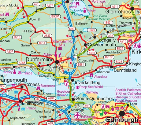 Scotland Road and Physical Travel Reference Map, United Kingdom.