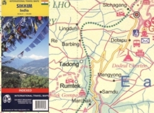 Sikkim State, Road and Physical Travel Reference Map.