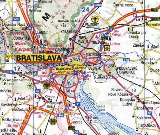 Slovakia Road and Physical Travel Reference Map.