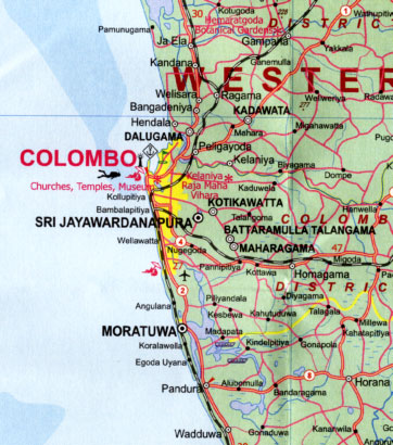 Sri Lanka, Road and Physical Travel Reference Map.