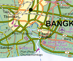 Thailand Road and Physical Travel Reference Map.