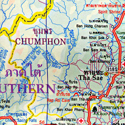 Thailand, South and Phuket Road and Physical Travel Reference Map.