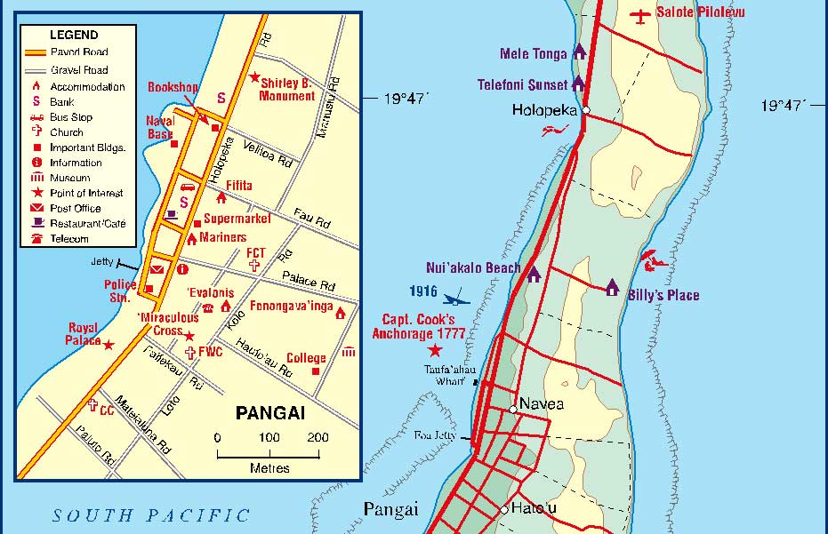 Tonga Road and Physical Travel Reference Map.