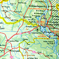 Vietnam, Laos, and Cambodia, Road and Physical Travel Reference Map.