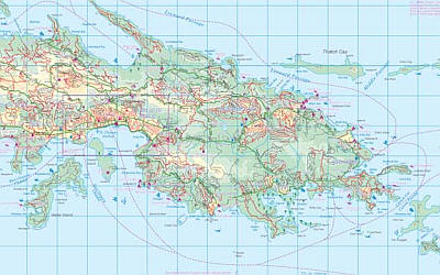 Virgin Islands Road and Physical Travel Reference Map.