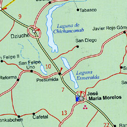 Yucat?n Peninsula, Road and Physical Travel Reference Map, Mexico.