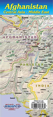 Afghanistan, Central Asia and Middle East Road and Tourist Map.