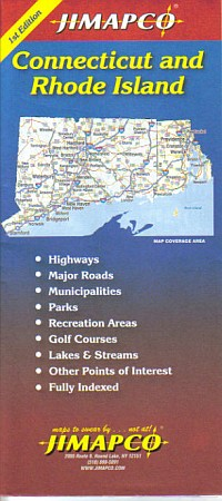 Connecticut and Rhode Island Road and Tourist Map, America.