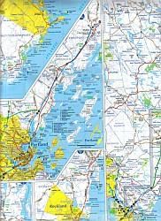Maine Seacoast Road and Tourist Map, America.