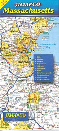 Massachusetts Road and Tourist Map, America.
