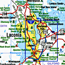 """New Hampshire """"Quickmap"""" Road and Tourist Map, America."""