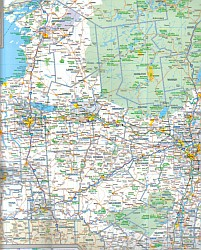 """New York State, """"Quickmap"""" Road and Tourist Map, America."""