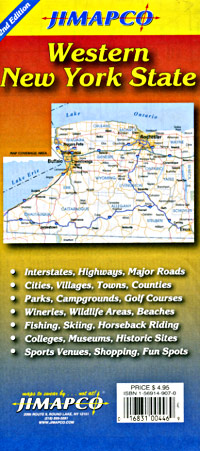 """New York State, """"Western"""" Road and Tourist Map, America."""