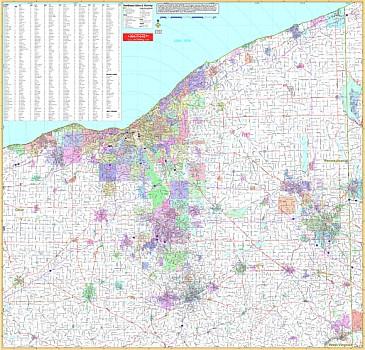 Ohio Northeast WALL Map, Ohio, America.