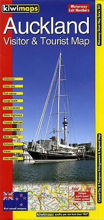 Auckland Visitors and Tourist Map, New Zealand.