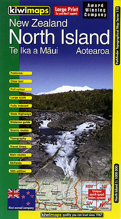 New Zealand, North Island, Road and Shaded Relief Tourist Map, New Zealand.