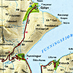 Faroe Islands, Road and Shaded Relief Tourist ATLAS, Denmark.