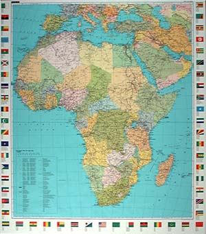 Africa Political WALL Map with Flags.