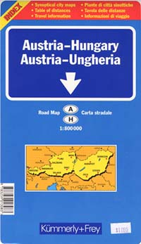 Austria and Hungary Road and Shaded Relief Tourist Map.
