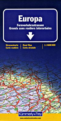 "Europe ""Long Distance Roads"" Tourist Map."
