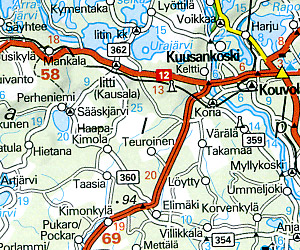 Finland Road and Shaded Relief Tourist Map.