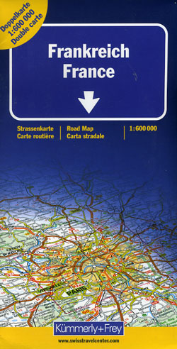 France Road and Shaded Relief Tourist Map.