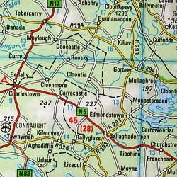 Ireland Road and Shaded Relief Tourist Map.